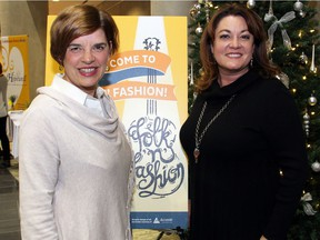 From left, Tracy Rait-Parkes from the non-profit, family-run Taggart Parkes Foundation with Hopewell Eating Disorder Support Centre executive director Jody Brian at the Folk 'n' Fashion fundraiser held at the Shenkman Arts Centre on Wednesday, November 23, 2016.