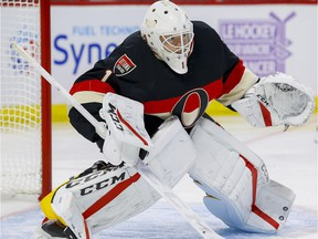 Ottawa Senators goalie Mike Condon (1) in his first game with his new team against the Vancouver Canucks at Canadian Tire Centre in Ottawa on Thursday November 3, 2016.