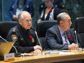 Police Chief Charles Bordeleau (L) and Councillor Eli El-Chantiry present the police budget as councillors take part in the City of Ottawa's draft 2017 Budget being tabled at City Hall. It's time to modernize police governance and policing in Ontario, writes Eli El-Chantiry.