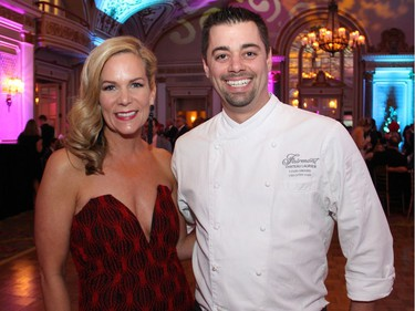 Taryn Gunnlaugson, chair of the Snowsuit Fund board, with Fairmont Chateau Laurier executive chef Louis Simard at the Canadian Tire Snowsuit Fund Gala held Saturday, November 12, 2016.