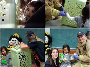 Ottawa firefighters used noisy power saws to free 'Annika', a two-year-old, brought to the fire hall by her mom, Cynthia, when the child was 'trapped' in a plastic basket.