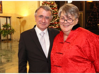French Ambasador Nicolas Chapuis and his wife, Sylvie Camia, at the Emassy of France of Tuesday, December 6, 2016, for the induction of former prime minister Brian Mulroney into the French Legion of Honour.