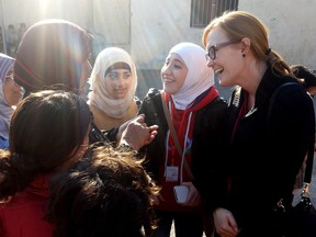 Jessie Thomson- director of CARE Canada's humanitarian assistance and emergency team- at work in Lebanon.