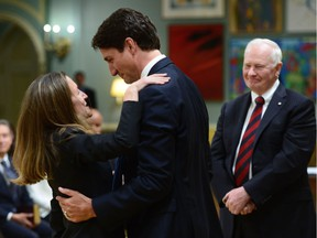 Prime Minister Justin Trudeau congratulates Chrystia Freeland after she was sworn in as Minister of Foreign Affairs during a cabinet shuffle at Rideau Hall in Ottawa on Tuesday, Jan 10, 2017.
