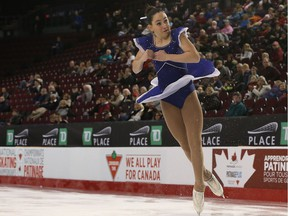 Catherine Carle from Georgetown, Ont., performing her novice women free program during the National Skating Championships at TD Place in Ottawa Ontario Tuesday January 17, 2017.