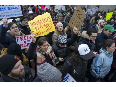Protesters assemble at John F. Kennedy International Airport in New York.