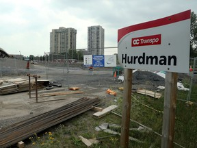 The Hurdman Station sign practically next to the new Guideway construction.