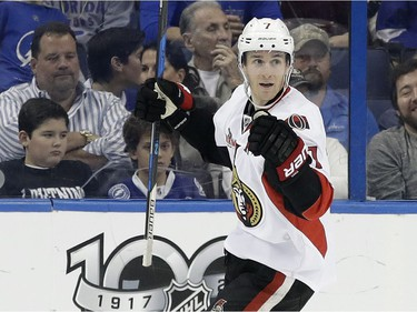 Ottawa Senators center Kyle Turris (7) celebrates his goal against the Tampa Bay Lightning during the second period of an NHL hockey game Thursday, Feb. 2, 2017, in Tampa, Fla.