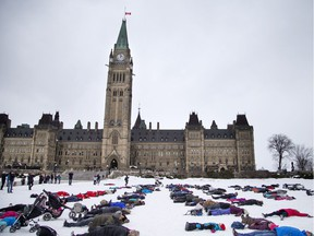 People made snow angels on Parliament Hill Saturday as part of a Canada-wide attempt to break a Guinness world record. The event was organized by The Canadian Ski Patrol.