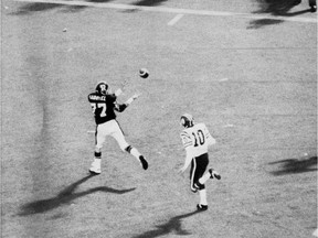 Tony Gabriel catches the game-winning TD pass in the 1976 Grey Cup. (Photo from Globe and Mail)