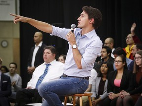Prime Minister Justin Trudeau, pictured here at a town hall in Calgary, will take part in a Q&A with university students this morning.