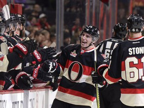 The Ottawa Senators' Alex Burrows celebrates a goal against the Colorado Avalanche during the first period at the Canadian Tire Centre on Thursday March 2, 2017.