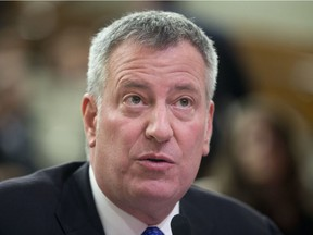 New York City Mayor Bill de Blasio will wear a Senators jersey, send a whack of bagels up north and plant a maple tree somewhere in Gotham if the Senators win the series.