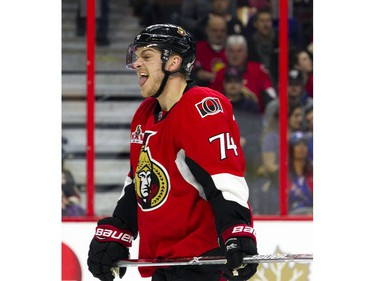 Ottawa Senators #74 Mark Borowiecki sticks his tongue out while playing the New York Rangers during the second period of play at Canadian Tire Centre Saturday April 8, 2017.