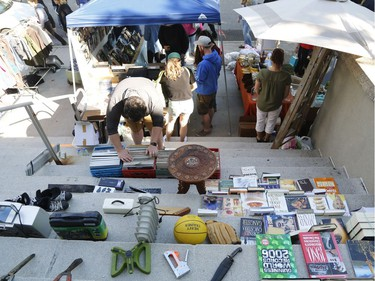 Bargain hunters look for deals at the Great Glebe Garage Sale on Saturday, May 27, 2017.