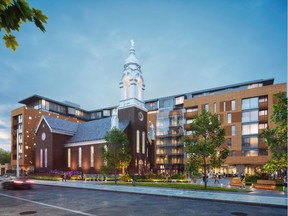 Photo Credit- ModBox Inc.  Artist's concept:  Marché St. Charles Market features beautiful horizontal homes that wrap around the former St. Charles Church.