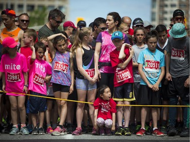 Lican-Marie Leduc (centre) was getting ready to run the 2K race at Tamarack Ottawa Race Weekend.