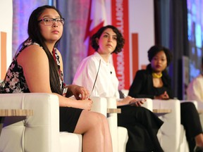 Reina Foster, left, spoke Tuesday during a panel at the Global Adolescent Health Conference at the Chateau Laurier.