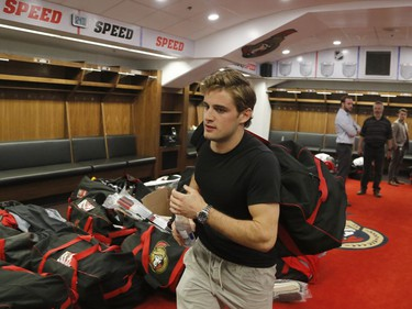 The Ottawa Senators' Chris Wideman leaves the dressing room after clearing out his locker at the Canadian Tire Centre.