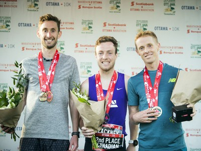 The top Canadian male runners in the 10K race were, from left, Kevin Coffey (third place), Kevin Blackney (second place) and Eric Gillis (first place).
