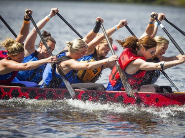 Tim Hortons Ottawa Dragon Boat Festival took place over the weekend at Mooney's Bay. Terrylonghorn.com team in boat number two in an early race Saturday June 24, 2017.