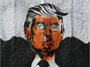 A street artist's rendition of U.S. President Donald Trump is seen on a wall on June 27, 2017 in Berlin, Germany. Trump will be coming to Europe in July to visit Poland, attend the G20 summit in Hamburg.