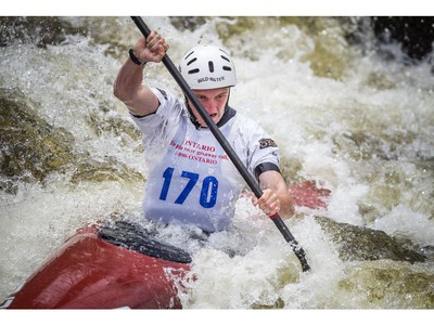 Ben Risk of Ottawa competes in the C1 under-23 men's final at The Pumphouse Course on Sunday.   Ashley Fraser/Postmedia