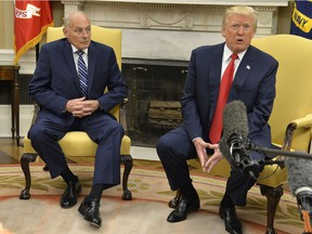President Donald Trump speaks to the press after the new White House Chief of Staff John Kelly, is sworn in.