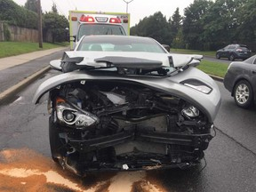A 51-year-old woman was seriously injured when her car collided with a truck at the intersection of Innes and Tenth Line roads Friday.