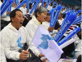 Korean fans make their voices heard during a hockey game between North and South.
