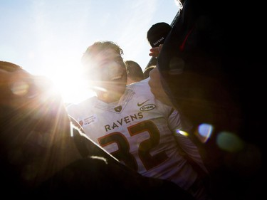 #32 Stefano Napolitano of the Carleton Ravens celebrates on the field after the team won the Panda Game against the uOttawa Gee-Gees at TD Place Saturday September 30, 2017.