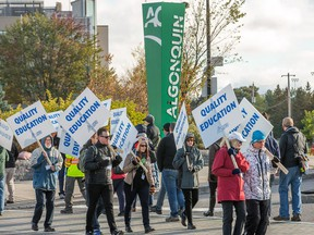 """Picket lines are up at Algonquin College as faculty at Ontario's 24 colleges began a strike Monday morning. About 12,000 professors, instructors, counsellors and librarians, both full-time and """"partial load"""" employees who work seven to 12 hours a week, walked off the job."""