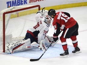 Senators centre Derick Brassard (19) was stopped by Capitals goalie Braden Holtby on this shootout attempt, but only after he managed his second three-point game as a Senators player in the 2017-18 season opener on Thursday. THE CANADIAN PRESS/Adrian Wyld