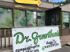 Dr. Greenthumb pot shop on Montreal Road was one of two dispensaries raided by police on Tuesday.