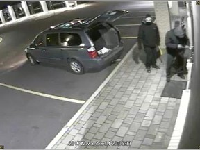 """On Sunday, November 4, 2017, at approximately 8:00 pm, two suspects arrived at a commercial premise situated along the 2300 block of St. Laurent Boulevard. The suspects were observed exiting a van with pry bars. The suspects pried open a door and returned to the van and fled a short time later. The suspects removed some items from the premises.  The suspects are described as:  Driver- Caucasian male, 5'10"""" (178 cm), medium build, wearing a black & white tuque, black jacket (possibly North Face logo left breast), black track pants, greyish shoes with white soles, and black gloves (view pictures.)  Passenger-Male, approximately 6'2"""" (188 cm), stocky build with belly, wearing a black baseball cap, black balaclava, black jacket with hood, charcoal grey shirt underneath, black joggers (possibly Puma logo on left leg), and grey gloves"""