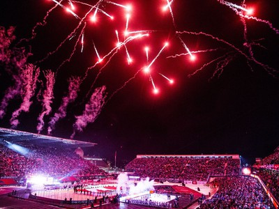 Fireworks went off during the ceremonies before the Ottawa Senators and Montreal Canadiens played the NHL100 Classic in Ottawa on Saturday, Dec. 16, 2017.