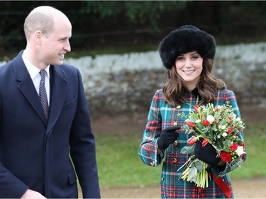 KING'S LYNN, ENGLAND - DECEMBER 25:  Prince William, Duke of Cambridge, and Catherine, Duchess of Cambridge attend Christmas Day Church service at Church of St Mary Magdalene on December 25, 2017 in King's Lynn, England.