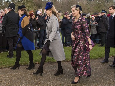 The British Royal family arrive at Sandringham to celebrate Christmas Day  Featuring: Princess Eugenie, Princess Beatrice, Countess of Wessex Where: Sandringham, United Kingdom When: 25 Dec 2017 Credit: Ward/WENN.com ORG XMIT: wenn33520359