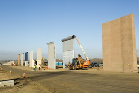 Ground views of different Border Wall Prototypes as they take shape during the Wall Prototype Construction Project near the Otay Mesa Port of Entry.    Photo by: Mani Albrecht