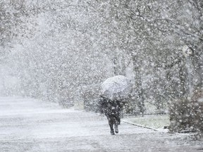 A woman protects herself with an umbrella during heavy snowfall.