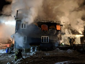 Fire destroyed a home on Sarsfield Road in Navan Wednesday morning. Five people were displaced.