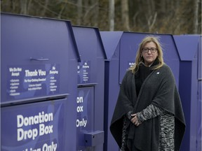 Susan Ingram, executive director of Big Brothers Big Sisters of Ottawa, says police have tracked down some of the agency's drop-off bins, but fears others have been repainted. She urged donors to be vigilant and verify the names on the sides of bins before donating used goods.