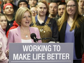 Premier Rachel Notley speaks in front of Trade Winds to Success students about Alberta's dispute over the Kinder Morgan Transmountain pipeline with British Columbia during a press conference at Alberta Pipe Trades College in Edmonton, Alberta on Friday, Feb. 16, 2018. Photo by Ian Kucerak / Postmedia