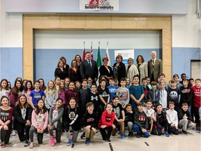 Students at Bernard-Grandmaître French Catholic School gathered on Thursday for an announcement that the province will pay $10.5 million to build a new elementary school in Riverside South that will take some of the pressure off Bernard-Grandmaître, which is full. Handout photo