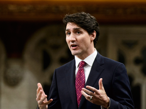 Prime Minister Justin Trudeau stands during question period on Wednesday.
