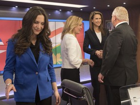 Ontario Conservative party leadership candidates, from left,  Tanya Granic Allen, Christine Elliott, Caroline Mulroney and Doug Ford are seen in TVO studios in Toronto on Thursday, February 15, 2018 following a televised debate.