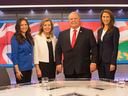 Ontario PC party leadership candidates, left to right, Tanya Granic Allen Christine Elliott, Doug Ford and Caroline Mulroney following a debate in Toronto on Feb. 15, 2018.
