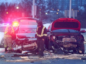 A car accident at the corner of Iris and Greenbank Thursday morning slowed traffic on both sides of the bridge accessing highway 417.