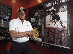 Willie O'Ree, known best for being the first black player in the National Hockey League, is shown in Willie O'Ree Place in Fredericton, N.B., on Thursday, June 22, 2017. There's growing momentum as friends and fans of O'Ree push to have the groundbreaking hockey player inducted into the Hockey Hall of Fame.