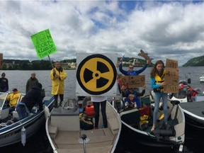 A boat flotilla protest against the nuclear waste site is held in August, 2017, across from Chalk River. (Photo courtesy of Old Fort William Cottagers' Association)